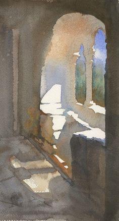 Watercolor Architecture, Watercolor Landscape, Landscape Art, Landscape Paintings, Landscapes, Watercolor Sketch, Watercolour Painting, Painting & Drawing, Watercolours