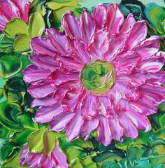 Painting Original Deep Pinkish Purple Dahlia by IronsideImpastos