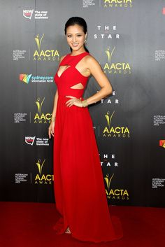 Grace Huang red geometric cut-out gown with a daring center slit at ACCTA Awards 2014. #Fashion #celebrities