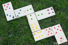Create your own giant lawn dominoes to bring the simple game of dominoes outside for some play in the sun.