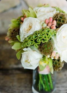 The velvety green celosia adds elegance to this bouquet
