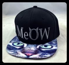 Flat Bill Snapback Hat Hip Hop 3D Meow Cat Animal by DaisysOutlet, $25.00