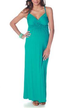Aqua Scrunchy Maternity/Nursing Maxi Dress