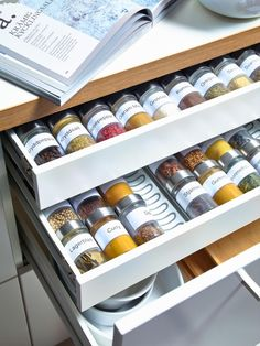 15 Creative Spice Storage Ideas Shallow kitchen drawers are perfect for spice storage – except when jars roll against one another. Solve that problem with the Variera drawer insert from IKEA. The curved grooves of this removable tray make it easy to store Kitchen Drawer Organization, Spice Organization, Diy Kitchen Storage, Kitchen Drawers, Pegboard Storage, Storage Drawers, Organizing Ideas, Cabinet Organizers, Kitchen Cabinets