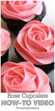 a video showing how to frost a rose on a cupcake, along with a buttercream frosting recipe, beginning frosting, cupcake makers should know this pretty technique, transform cupcakes into roses