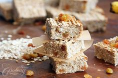 Delicious, healthy oatmeal bars, with no sugar or butter, full of fibers, vitamins and minerals. Add different dried fruits, or chocolate chips for variations.