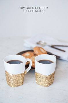 DIY Gold Glitter Dipped Mugs by @cydconverse