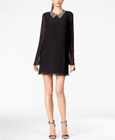 BCBGeneration Embellished Collar Chiffon Dress | macys.com