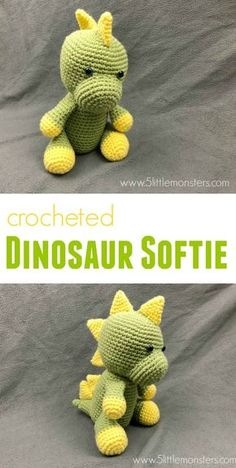 """Free crochet pattern for a Dinosaur Softie. Cute and Cuddly and almost 10"""" tall this little guy is so fun to make."""