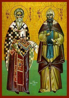 """KYRILLOS JA METHODIOS ✦ """"Slaavien apostolit"""", vaikuttivat 800-luvun puolivälin jälkeen. Käänsivät keskeiset opetukset slaaviksi. Loivat kreikkalaisten kirjainten pohjalta uudet kyrilliset aakkoset. Levittivät pohjoiseen kristillistä sanomaa, ja kirkkoslaavia alettiin käyttää jumalanpalveluksissa."""