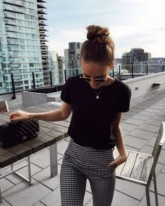 black and white check work outfit
