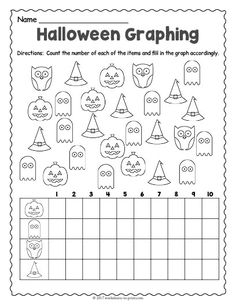 Have your kids count up the spooky characters and then graph their results on this cute Halloween graphing worksheet. Halloween Math Worksheets, Graphing Worksheets, 2nd Grade Math Worksheets, Graphing Activities, Kindergarten Worksheets, Worksheets For Kids, Halloween Activities, Preschool Halloween, Homeschool Kindergarten