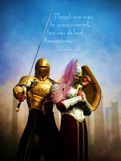Defend your spouse as they pray. Be a covering for each other and make sure your Faith shields are big and strong! Also it is so important to help each other sharpen your swords. That is speaking The WORD of GOD into circumstances that helps to bring Hope in God's Victory! Remind each other of past victories, that sharpens your swords too.