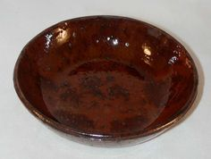 Beautiful Southeastern Pennsylvania Antique Redware Manganese Glazed Small Bowl or Deep Dish