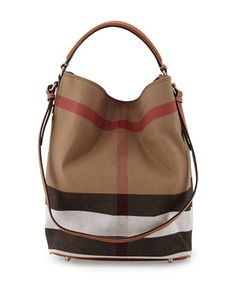 Ashby Medium Canvas/Calfskin Hobo Bag, Saddle Brown by Burberry at Neiman Marcus.