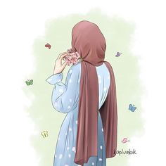 Girl Cartoon, Cartoon Art, Cartoon Design, Character Illustration, Illustration Art, Vector Character, Portrait Vector, Hijab Drawing, Islamic Cartoon