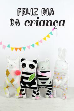 handmade fabric animal dolls, polar bear, panda, kitten and bunny  - by PinkNounou