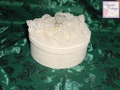 Wedding Gift Box - Bridal Keepsake Box - Made in America - Ivory 001 Details Ivory wedding gift box, keepsake box. Made from a paper mache' box, painted and then embellished with wide ivory lace and faux pearls. Perfect for a gift, or for storing the bridal comb, garter, invitation, etc. 8 inches x 3 inches Materials Used paper mache' box, paint, sealer, lace, pearls