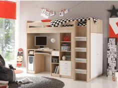 Lit mezzanine avec rangements ALESSIO prix promo Lit Enfant pas cher Vente Unique 499.99 € TTC prix constaté de 899.00 €