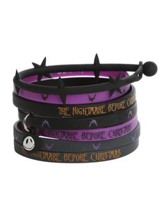 Seven bracelets in black, grey and purple with The Nightmare Before Christmas inspired designs.