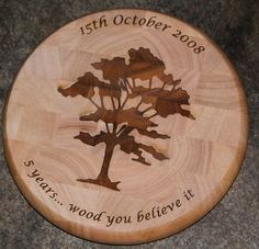 A round end grain chopping block. Size 280 x 40mm. Font Lucida Calligraphy.   ref - 1310.SE.037 www.sign-maker.net/gifts/chopping-boards.html