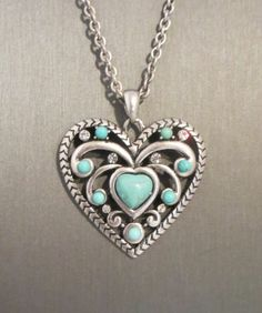 Cowgirl Bling HEART Rhinestones Gypsy Western Turquoise RODEO Necklace set our  prices are WAY BELOW retail! ALL JEWELRY SHIPS FREE! BAHA Ranch Western Wear www.baharanchwesternwear.com