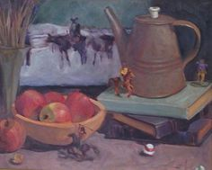 Cowboys and Indians canvas oil painting still life by Margaret Aycock original #Impressionism