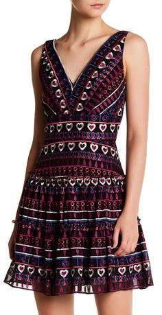 Hearts Embroidered Chiffon V-Neck Dress