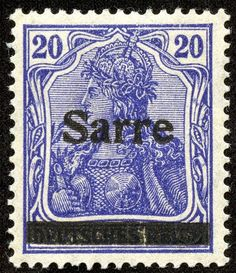 Saar  1920 Scott 8 20pf blue violet, Type I  German Stamps of 1906-19 Overprinted