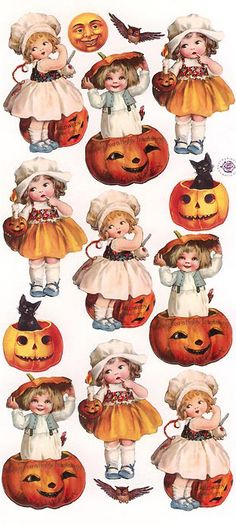 Vintage Halloween stickers for holiday crafting