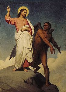 """The Temptation of Christ.    BIBLE SCRIPTURE: Mark 1:13, """"And he was there in the wilderness forty days, tempted of Satan; and was with the wild beasts; and the angels ministered unto him."""""""