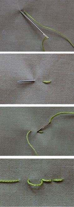 basic stitches; backstitching, chain, satin stitch and french knot