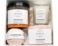Champagne Beauty Box - Gift Set - That Charming Shop - Beauty Gift - Pamper Gift Set - Champagne Gift Set - Gifts For Women - Gifts For Her Soy Wax Candles, Scented Candles, Bridesmaid Proposal Gifts, Soap Packaging, Skincare Packaging, Beauty Box, Candle Making, Soap Making, Aromatherapy