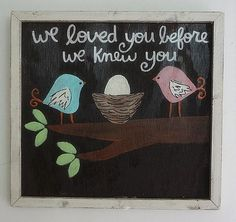 Hand Painted Framed Bird Nest Boys Nursery Art   WE LOVED YOU... Baby Shower Gift.