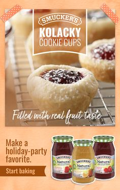 Delight holiday party guests with Smucker's Natural Fruit Spreads in Kolacky Cookie Cups. With real fruity taste, they make a sweet treat for the holidays. Tap the Pin to get the recipe. Candy Recipes, Baking Recipes, Holiday Recipes, Cookie Recipes, Dessert Recipes, Dessert Food, Christmas Recipes, Dessert Table, Dessert Ideas