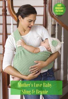 Baby Sling & Beanie [Free Crochet Pattern]  Togue and hat. US Terms. Let's combine the best crochet set - sling and beanie for babies. Every mother will be absolutely happy to cuddle her child so close and safe. #crochetbeanie #crochetblanket #freepattern