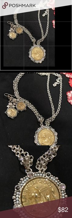 BrightonNecklace and earring set Absolutely and gorgeous coin necklace and matching Erring from Brighton it is exquisite,Brand new Brighton Jewelry Necklaces