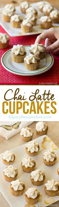 AWESOME Spiced Chai Latte Cupcakes on ASpicyPerspective.com. #christmas #holidays #chai