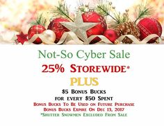 New Arrival From all of us at Uniquely Me Boutique we would like to thank EVERYONE who ventured out this past weekend to support small businesses throughout our area. Our sale was an enormous success because of all of you! We would like to show our gratitude with a NOT-SO CYBER SALE .. 25% Off Storewide PLUS $5 Bonus Bucks for Every $50 Spent (Bonus Bucks to be used on future purchase & expire on Dec 13 2017  Shutter Snowmen Excluded from sale) A HUGE Thank you to Theresa & Alexa .. I could…