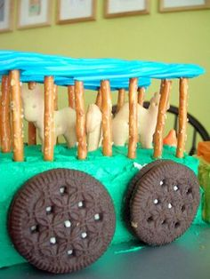fun circus train cake idea- in red and blue of course