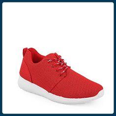 Ideal Shoes–Sneaker Mesh Style Running Joella, Rot - Rot - rot - Größe: Fr 40 - Sneakers für frauen (*Partner-Link)