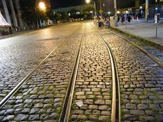 Tram tracks and cobblestone