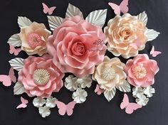 Mini paper flower backdrop - Set of GARDEN & WILD ROSES / HYDRANGEA paper flowers 1 Big & high Garden Rose is 35 cm (14 inches) wide and 15 cm/6 tall 1 Big Garden Rose is 30 cm (12 inches) wide and 7 cm/2.5 tall 1 Big Wild Rose is 30 cm (12 inches) 3 Small Wild Roses are 24 cm (9,5 inches) 9 small hydrangea flowers 11 cm (4,5 inches) leaves and butterflies all flowers have a tiny loop at the back you can hang with 3 removable hooks for big flowers and a blue tack ...