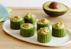 Cucumbers and California Avocados take center stage in this super simple 100-calorie snack. A melon baller, pair of scissors, and a plastic bag are all the tools you need to make this nutritious snack recipe come to life. With three grams of dietary fiber in 90 calories, these snacks will help keep you fueled throughout the rest of your day!