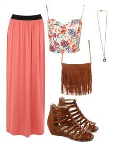 Floral Corset Top + Pink Maxi Skirt + Brown Fringe Purse + Brown Gladiator Sandals + Simple Pendant Necklace