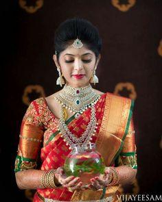 The sheer magic of bridal portraits by Vijay Eesam Wedding Saree Blouse Designs, Pattu Saree Blouse Designs, Lehenga Designs, Indian Bridal Makeup, Indian Bridal Fashion, Bridal Silk Saree, Saree Wedding, Telugu Wedding, Wedding Rings Vintage