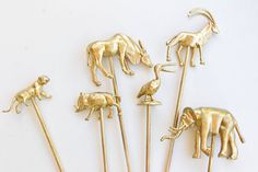 6 Gold Animal Cake or Cupcake Toppers  Panther by oneyounglove