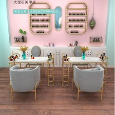 Home Nail Salon, Nail Salon Design, Nail Salon Decor, Beauty Salon Decor, Salon Interior Design, Beauty Salon Interior, Boutique Interior, Nail Place, Nail Room
