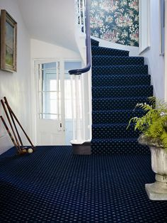 Brintons Marquis Royal blue diamond - 63/14827. Woven axminster.  Pile content 80% wool 20% nylon.  Tog value 2.03. Suitability Extra heavy domestic.  #carpets #hall #brintons #york