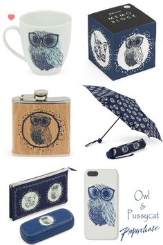 New Collection by Paperchase. lol cuz everyone needs an owl flask!
